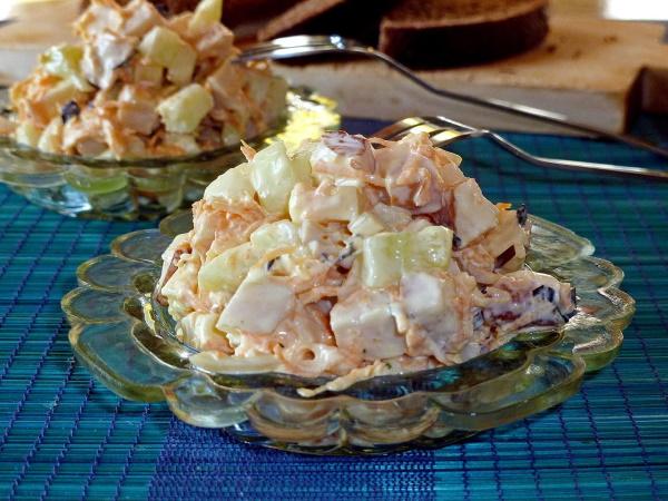 Салат Мужской каприз. Рецепт классический с говядиной, курицей, маринованным луком пошагово с фото