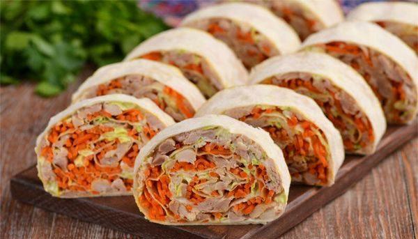 Лаваш с морковкой по-корейски. Рецепты с сыром, ветчиной, крабовыми палочками, колбасой, курицей