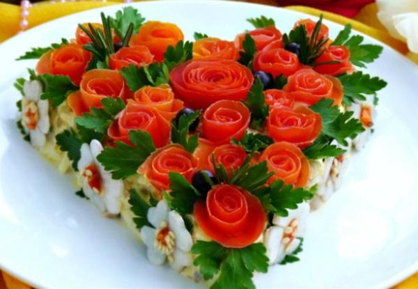 Как украсить салаты красиво на праздничный стол, Новый год, День рождения, свадьбу