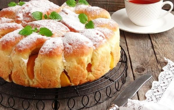 Пироги с персиками консервированными, свежими. Рецепты в мультиварке, духовке со сметанной заливкой, творогом, грушей