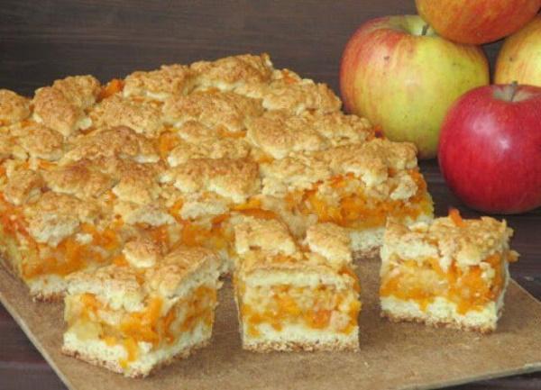 Пироги с яблоками и тыквой. Рецепт в духовке, мультиварке насыпной, заливной, песочный на кефире, сметане из слоеного, дрожжевого теста, лаваша