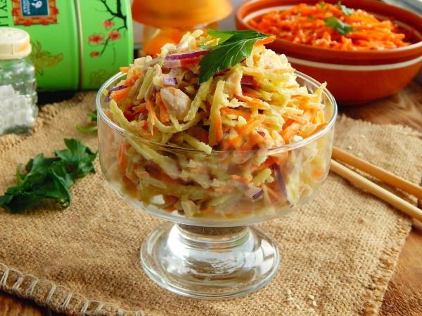 Салаты Лисичка с корейской морковкой. Рецепты под шубой очень вкусный с грибами, селедкой, курицей, огурцом