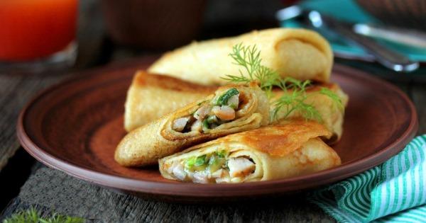 Блинчики с ветчиной и сыром. Рецепт с майонезом, помидорами, грибами, яйцом, чесноком