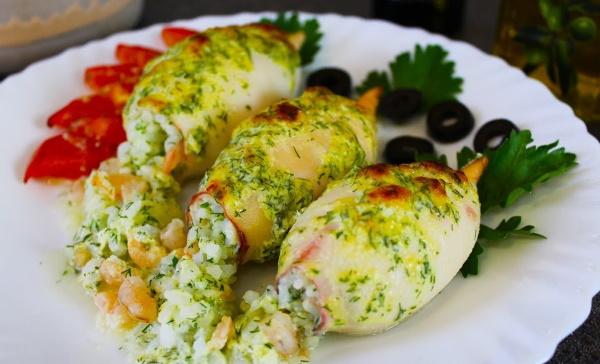 Блюда из кальмаров. Рецепты в духовке с фото