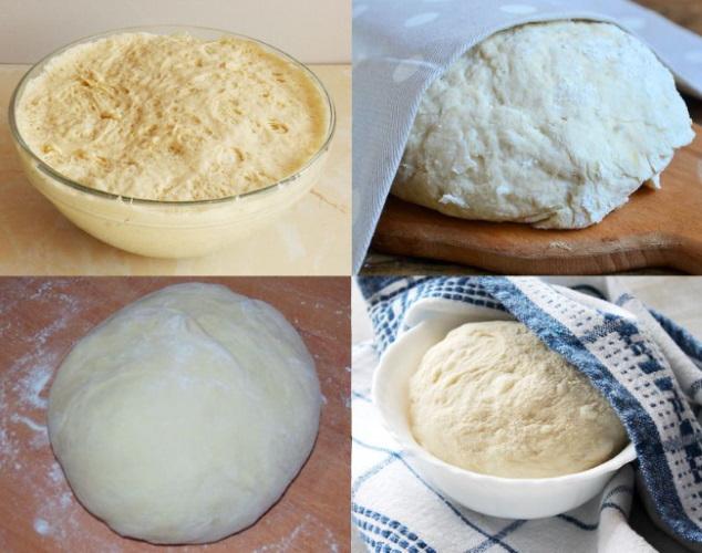 Тесто для беляшей. Классический рецепт, дрожжевое с сухими, сырыми дрожжами на кефире, молоке, сметане