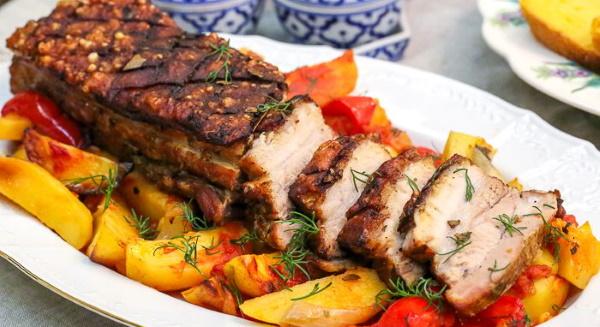 Блюда из свиной грудинки в духовке, мультиварке, на сковороде. Рецепт с картошкой, шампиньонами, гречкой