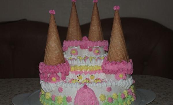 Торт Замок принцессы для девочки. Фото, как сделать