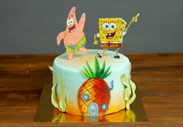 Торт Губка Боб из крема, мастики для девочки, мальчика
