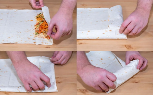 Начинка для лаваша с корейской морковкой, курицей, колбасой